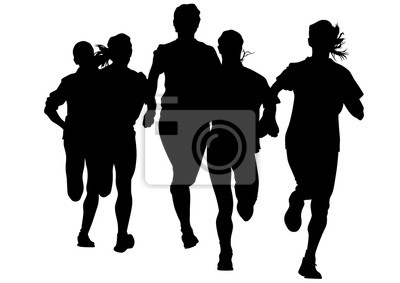 Sticker Woman athletes on running race on white background