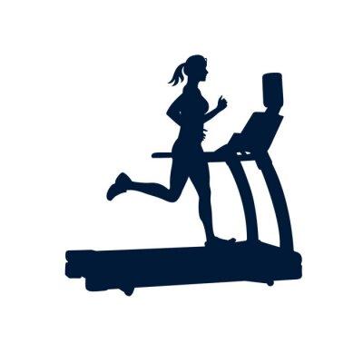 Sticker woman doing exercises on treadmill, on white background,