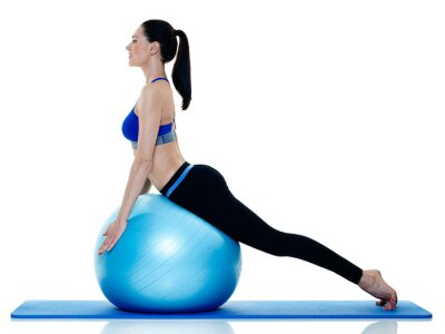 Sticker woman fitness pilates exercices isolated