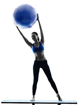Sticker woman pilates ball exercises fitness isolated