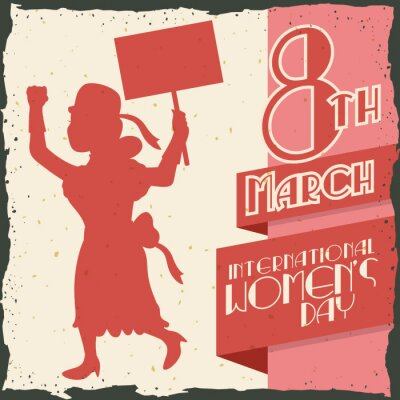 Sticker Woman Silhouette Marching in Women's Day Retro Poster, Vector IlVector Illustration