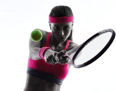 Sticker woman tennis player portrait silhouette