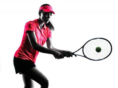 Sticker woman tennis player sadness silhouette