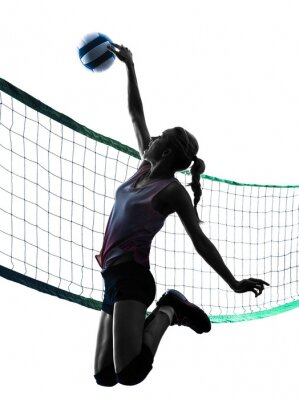 Sticker woman volleyball players isolated silhouette