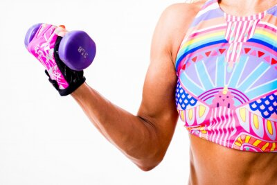 Sticker Woman with dumbbells closeup