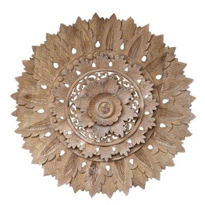 Sticker Wooden pattern of flower on carve teak wood in circle shape.