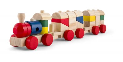 Sticker Wooden toy train with colorful blocs isolated over white
