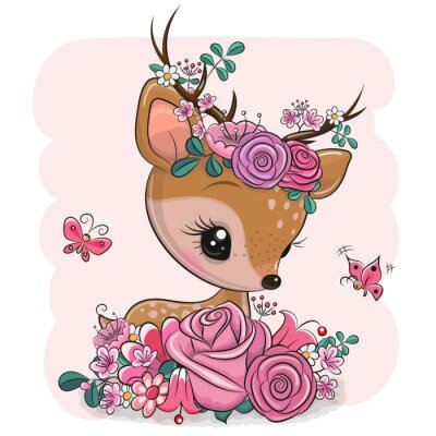 Sticker Woodland Deer with flowers and butterflies on a pink background