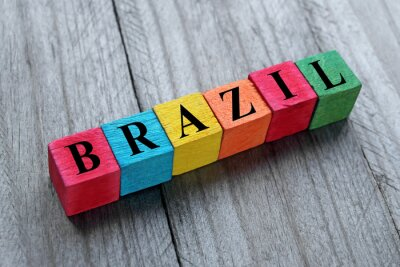 Sticker word Brazil on colorful wooden cubes