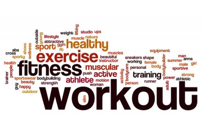 Sticker Workout word cloud concept