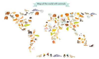 Sticker World mammal map silhouettes. Animals world map. Isolated on white background vector illustration. Colorful cartoon illustration for children and other people. Education