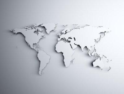 Sticker World map 3D
