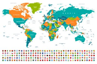 Sticker World Map and Flags - borders, countries and cities -illustration