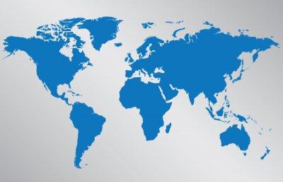 Sticker World map illustration on gray background