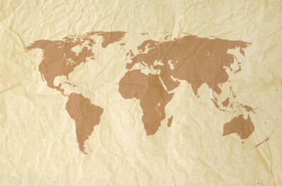 Sticker World map on Vintage yallow paper texture background