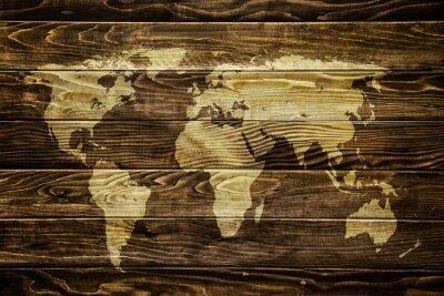 Sticker World map on wood background