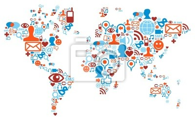 Sticker World map shape made with social media icons