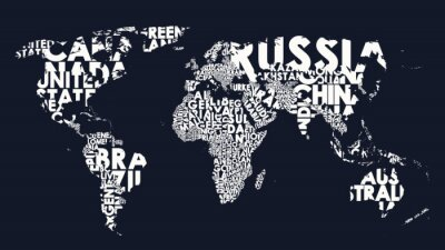 Sticker World map text composition of country names, typographical black and white vector illustration