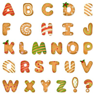 Sticker Xmas Gingerbread Cookie Alphabet