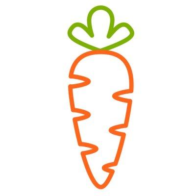 Sticker Плоская иконка морковь. Контурная векторная иллюстрация морковки. Контурный дизайн