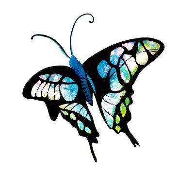 Sticker 수채화 타이다이 기법으로 표현한 나비