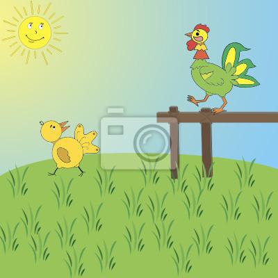 Изображение петуха и цыпленка