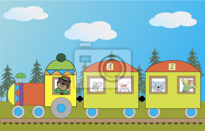 Изображение поезда со зверьми