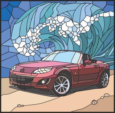 Sticker Автомобиль на берегу моря (Car on the beach)