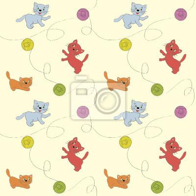Бесшовное изображение котов