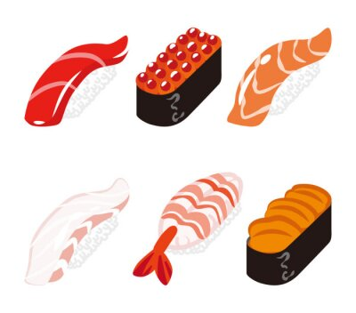 Sticker 寿司 六貫 白バックセット- Sushi Six Objects set
