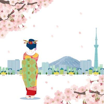 Sticker 日本 イラスト 桜 スカイツリー