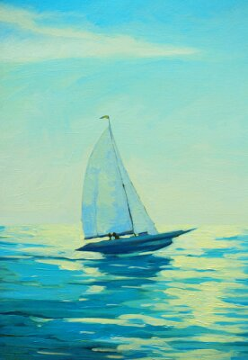 Sticker yacht with sail at the morning mediterranean seaside, painting