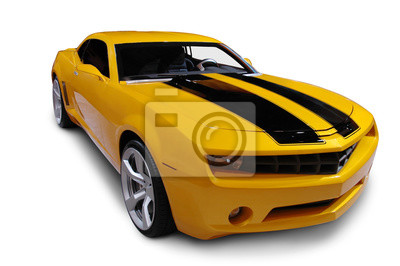 Sticker Yellow American Sports Car