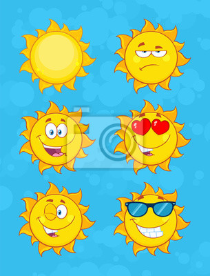 0e2c5f8ad7a5 Sticker Yellow Sun Cartoon Emoji Face Character Set 1. Collection With Blue  Background