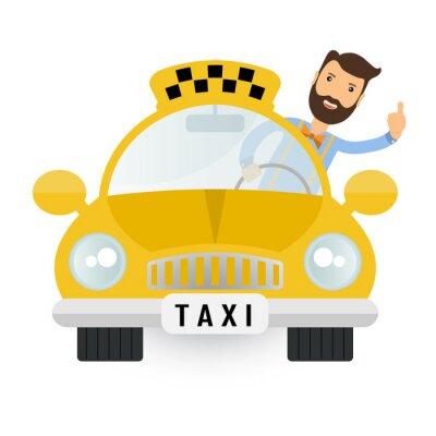 Sticker yellow taxi car - vector icon