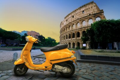 Sticker Yellow vintage scooter on the background of Coliseum