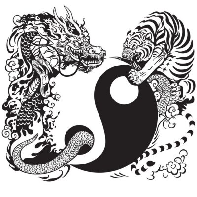 Sticker yin yang with dragon and tiger