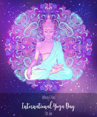 Sticker Yoga card design. Colorful template for spiritual retreat or yoga studio. Ornamental business cards, oriental pattern. Vector illustration.