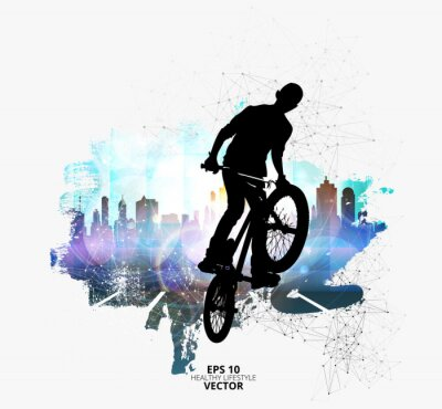 Sticker Young male bicycle jumper. Healthy lifestyle.