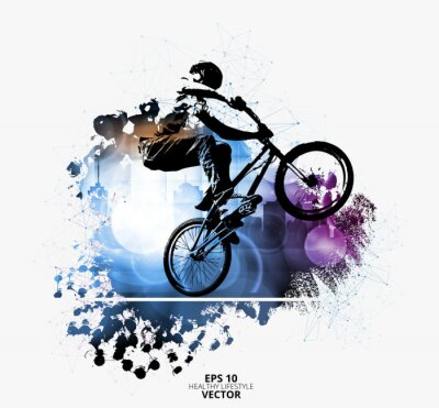 Sticker Young male bicycle jumper. Healthy lifestyle. Vector