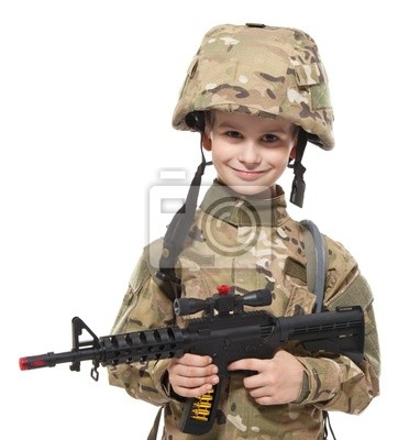 Sticker Young soldier with rifle
