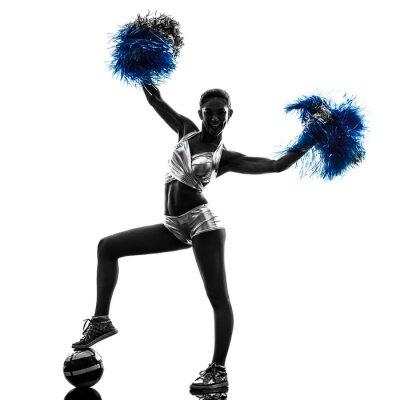 Sticker young woman cheerleader cheerleading  silhouette