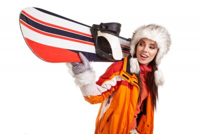 Sticker Young woman standing with snowboard isolated on white