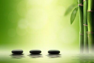 Sticker Zen concept. Black spa stones in bamboo forest.