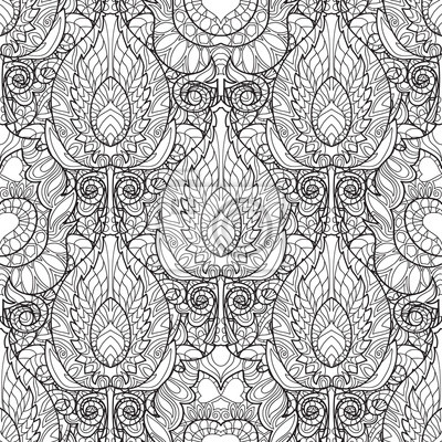 Sticker Zen tangle stylized peacock feather seamless pattern. Hand drawn doodle vector illustration. Sketch for tattoo or coloring.