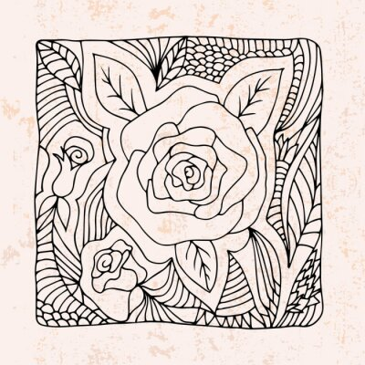 Sticker Zentangle with roses and leafs