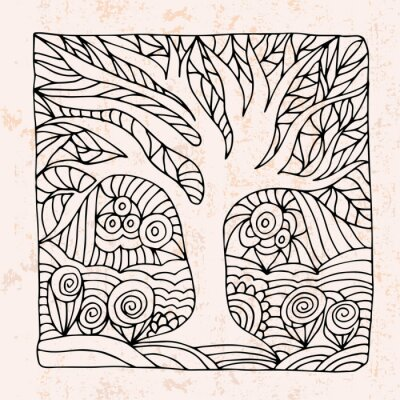 Sticker Zentangle with tree and flowers